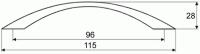 44032 - Úchytka 96mm chrom lesklý