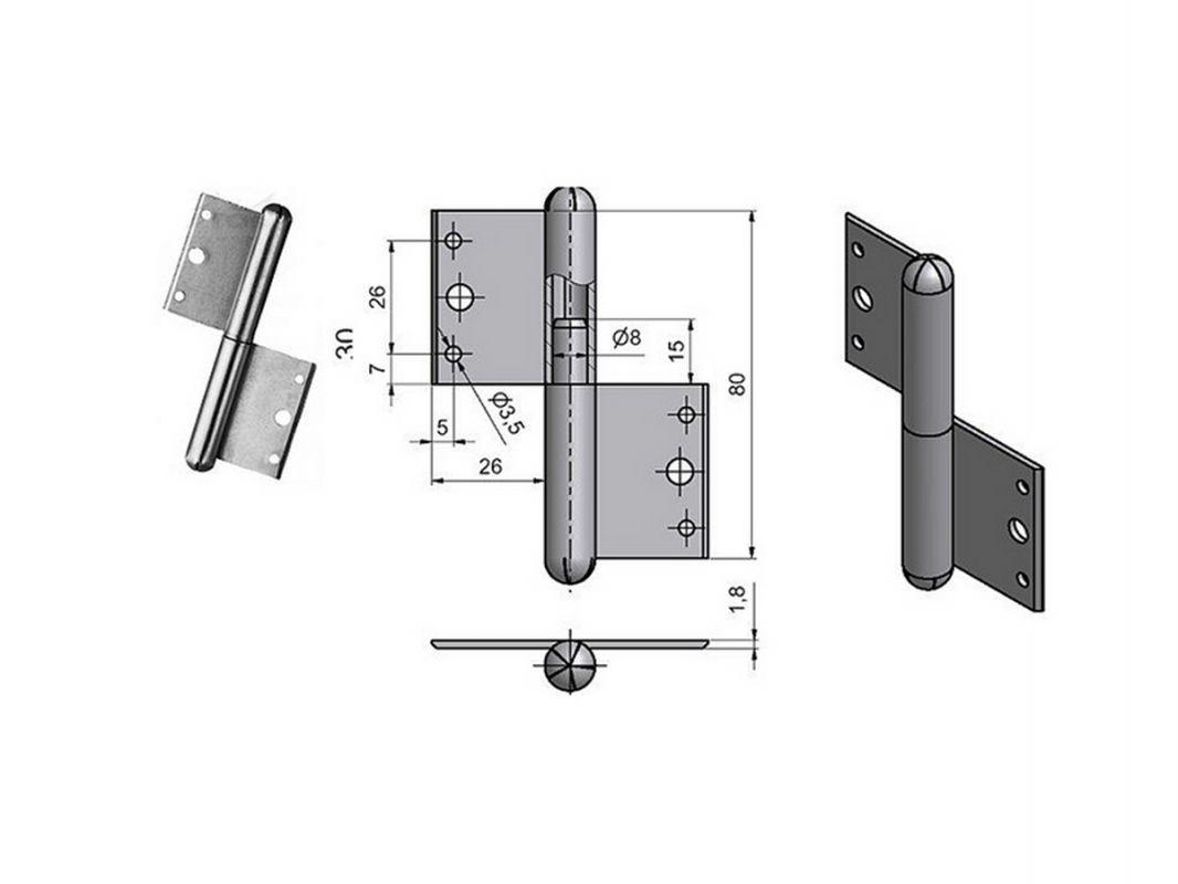 5033 - Závěs okenní 80 mm=L= 62