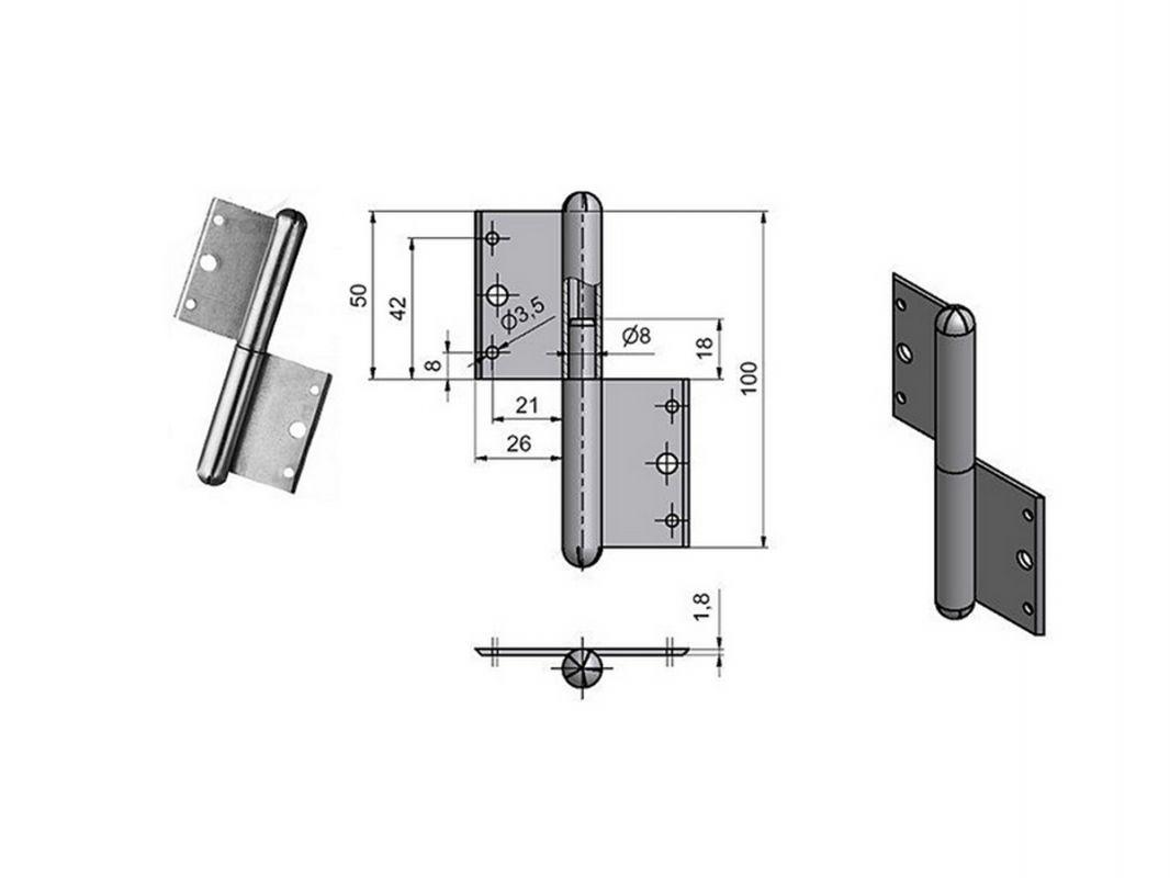 5035 - Závěs okenní 100 mm=L= 62