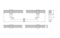 62118 - GINA úchytka 608mm broušený nikl