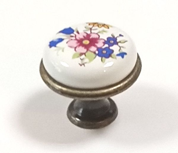 62142-knopka staromosaz/porcelán kytka