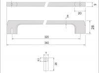 770010 - úchytka rozteč 320mm / Broušený nikl