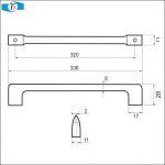 770050 - úchytka rozteč 320mm / Satén nikl