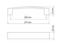 770140 - úchytka rozteč 256mm / Broušený nikl