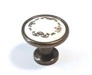 91464 - Knopka 30,5mm, porcelán / zlatý ornament