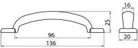 12024 - STELA úchytka 96mm starostříbro