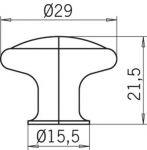 12936 - RUDA knopka staromosaz/porcelán