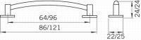 14085 - UFO96 úchytka 96mm staromosaz