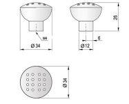 63593 - JARO knopka 34mm nikl satén