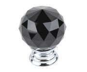 91006 - Knopka 30mm, černý křišťál/chrom