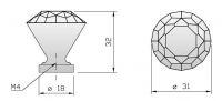 91011 - Knopka 30mm, křišťál/lesklý chrom