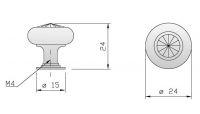 91014 - Knopka 24mm, lesklý chrom+křišťál