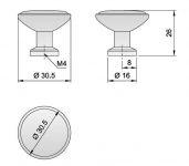 91025 - Knopka 30,5mm, porcelánová /klásek