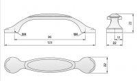 91033 - Úchytka 96mm/porc. bar.kytka,packy