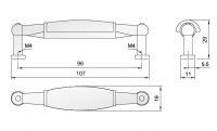 91035 - Úchytka 96mm porcelán béžový