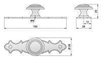 91070 - Knopka 29mm se štítkem 100mm, rustikální,