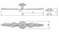 91075 - Knopka 25mm se štítem 142mm,rustikální, st