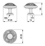 91076 - Knopka 28mm staromosaz