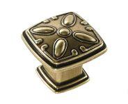 91088 - Knopka rustiko čtverec 31x31mm, staromosaz