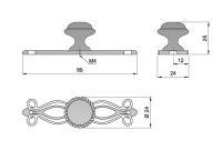 91101 - Knopka 24mm se štítem 89mm,rustikální, sta