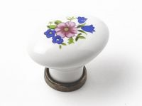 91452 - Knopka porcelán.bílá 25x34/kytka