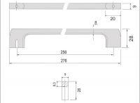 770013 - úchytka rozteč 256mm / Broušený nikl