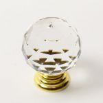 85001 - Knopka 30mm, křišťál/zlatá