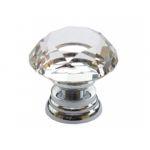 85002 - Knopka 30mm, křišťál/stříbro