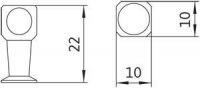 12176 - Knopka kovová 10x10 mm/ 22 mm -antracit