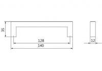 12197 - Úchytka 128 mm / nerez