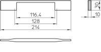 12312 - Kovová úchytka - Délka: 214 mm