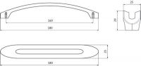 12582 - Úchytka 160mm / železo broušené