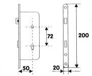 """81053 - zámek zadlab.+plech, 72/50 vložka """"FAB"""""""