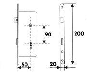 81055 - zámek zadlab.+plech, 90/50, na dozický klíč