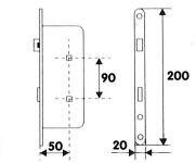 81057 - zámek zadlab.+plech, 90/50 WC